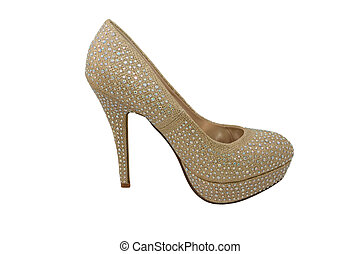 High heel gold shoe, covered in sparkling gems
