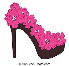 high heel rose - vector floral bridal shoe