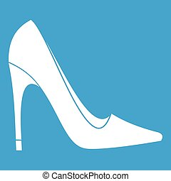High heel shoe icon white isolated on blue background vector...