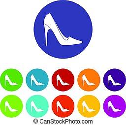 High heel shoe icons set flat vector