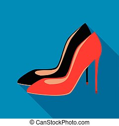 High heel shoes icon, flat style
