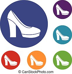 High heel shoes icons set