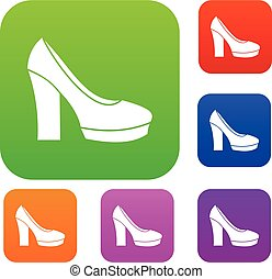 High heel shoes set collection