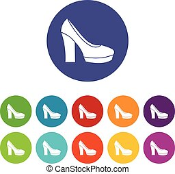 High heel shoes set icons