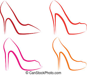 high heel shoes, vector set - high heel shoes line art, ...
