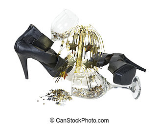 High Heel Shoes with Wine Glasses and Cascading Stars