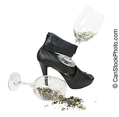 High Heel Shoes With Wine Glasses of Stars