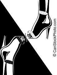 High-heeled shoes adorned with diamonds. Black and white ...