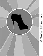 High-heeled shoes on black and white background.