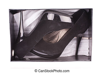 high-heeled shoes - Black high-heeled shoes in the box under...