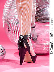 high heels and disco balls