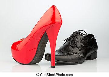 high heels and men's shoe