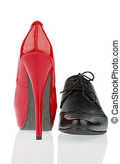high heels and men's shoe - ladies shoes and men's shoes,...
