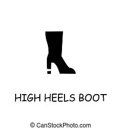 High Heels Boot flat vector icon