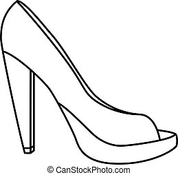 High Heels - an abstract outline of high heels on a neutral...
