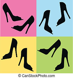 high heels - seamless shoe pattern on four different...