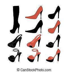 High heels illustration. Shoes illustration. Boots icon....