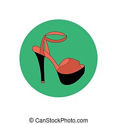 High heels illustration. Shoes illustration. Shoes icon....