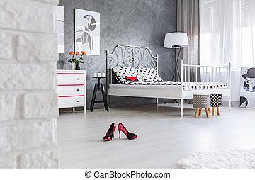 High heels left in the bedroom