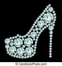 High heels shoe made of diamonds.