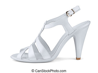 High heels shoe - White leather high heels shoe isolated on...