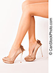 high heels - woman legs in high heels side shot