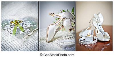 High heels wedding shoes. Rings