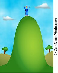 man standing at the top of a high hill