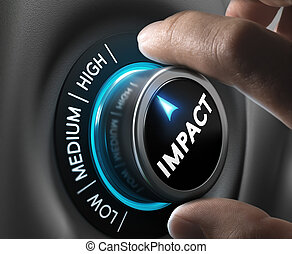 High Impact Solution or Communication - Man hand turning a...