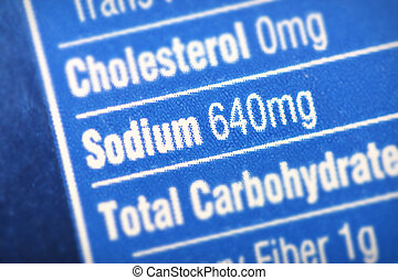 High in sodium - Nutritional label with focus on...