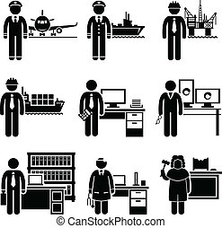 A set of pictograms showing the professions of people in the high profile and high income industry.
