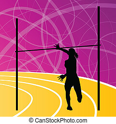 High jump athletics active woman girl sport silhouette concept illustration background vector