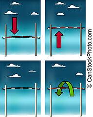 High jump bar - Conceptual vector set with high jump bar...