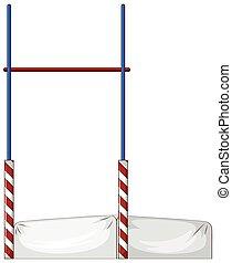 High jump pole and mattress