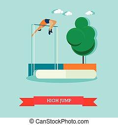 High jump sportsman. Track and field athletics. Flat design