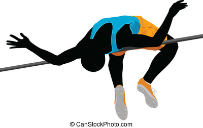 High Jump  - Vector illustration of high jump athlete