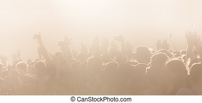 crowd of people on an open playground at a concert - High...