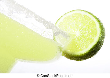 High Key closeup shot of Margarita with a slice of lime