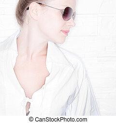 High Key Portrait of a stylish girl