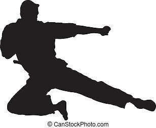 High Kick - Vector Illustration of Martial Artist doing a...