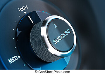 High level of success. Succeed - Rotating button with the...