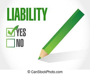 high liability check mark illustration design over a white...