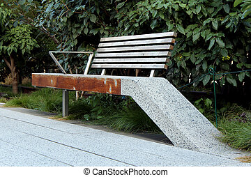 High Line (Bench detail). New York City. Elevated pedestrian...
