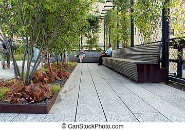 High Line. New York City. Elevated pedestrian Park - High...