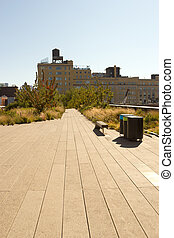 This is part of the High Line Park located in the Meatpacking District of midtown Manhattan, New York
