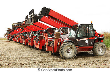 High load forklifts industrial machines in row