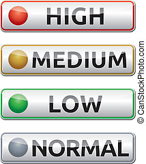 high-medium-low-normal-boards - Danger board with high,...