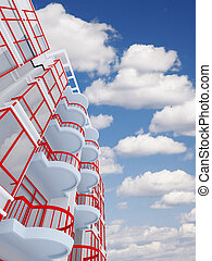 high modern residential building on a background sky and clouds