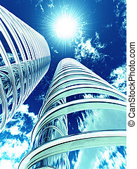 High modern skyscrapers on a background of the blue sky and in solar patches of light