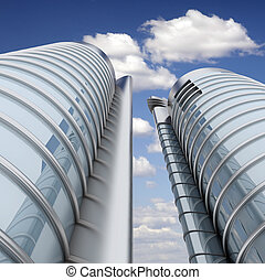 High modern skyscrapers on a background of the blue sky and clouds